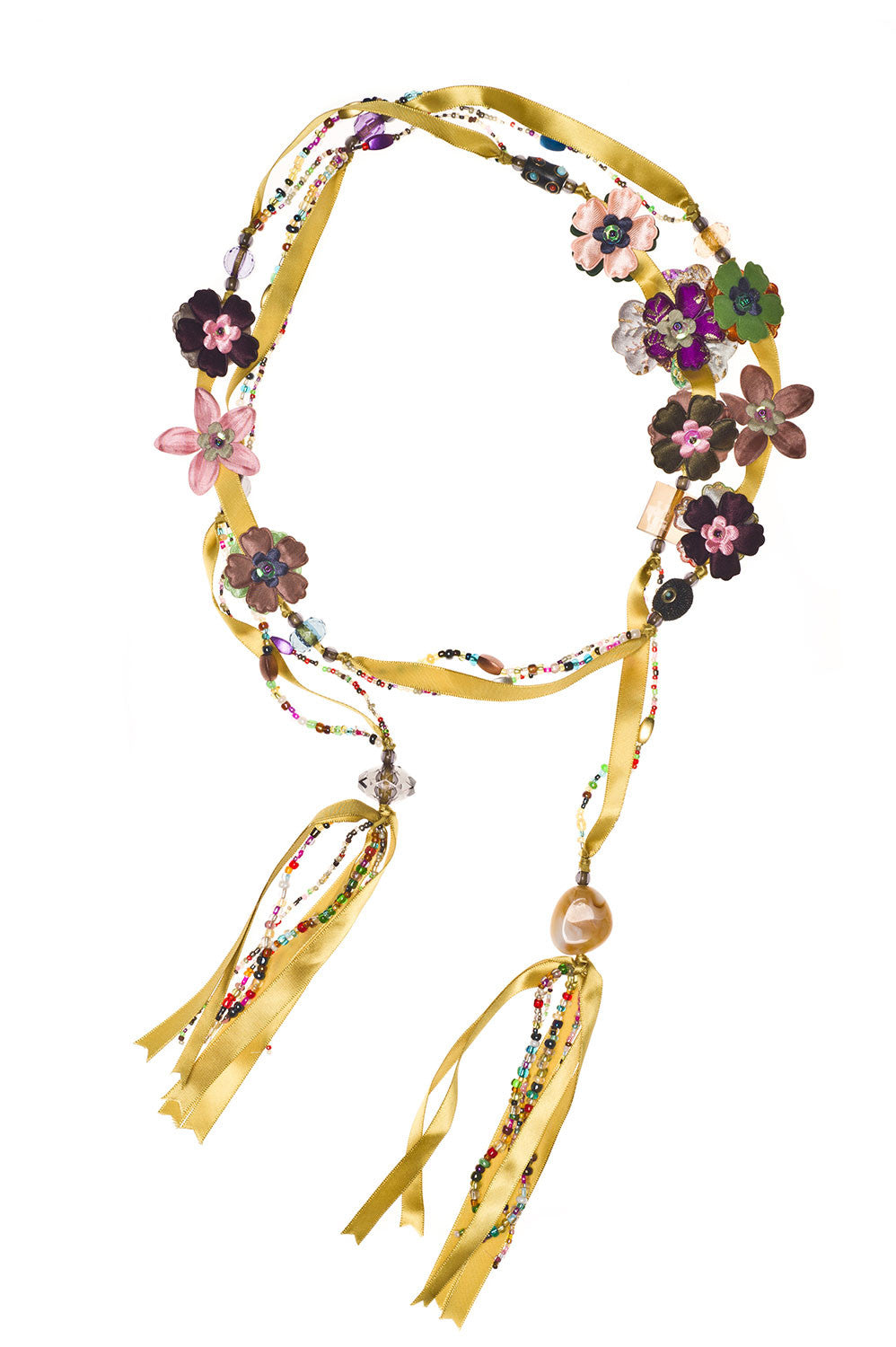 Silk Flowers and Ribbon Beaded Lariat - Mustard Gold
