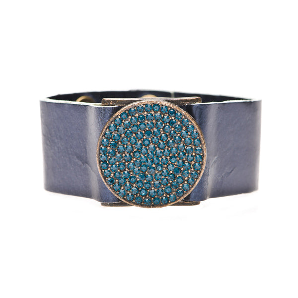 Blue Swarovski Crystal Encrusted Circle on Blue Metallic Leather Cuff Bracelet
