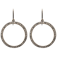 Open Circle with Black Diamond Swarovski Crystals Earrings