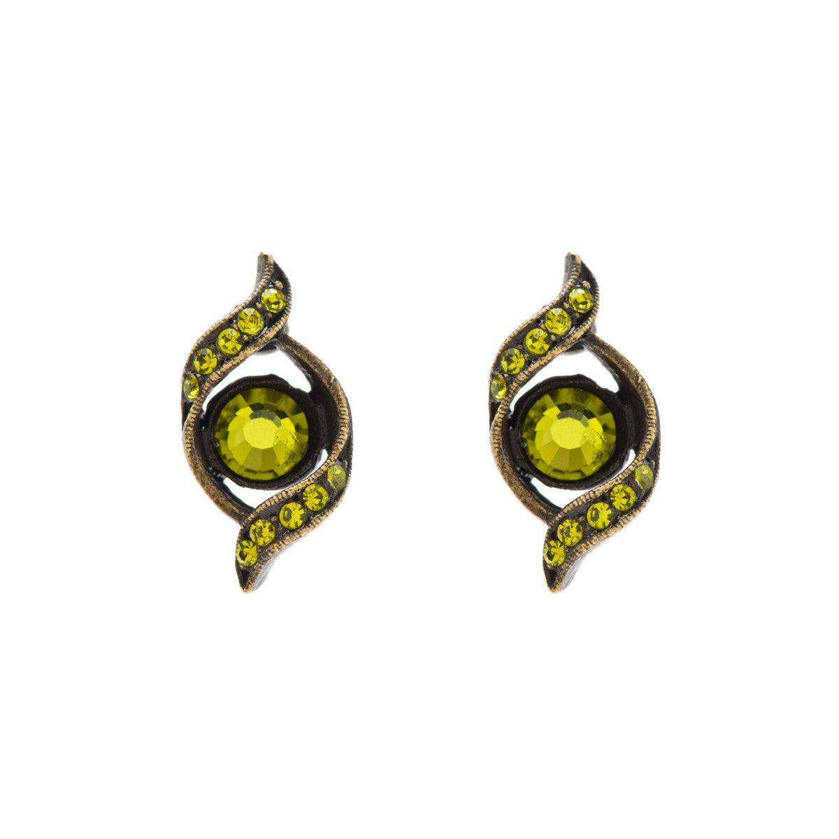 Rebel Designs Jewelry Olivine Swarovski Crystal Flourish Earrings