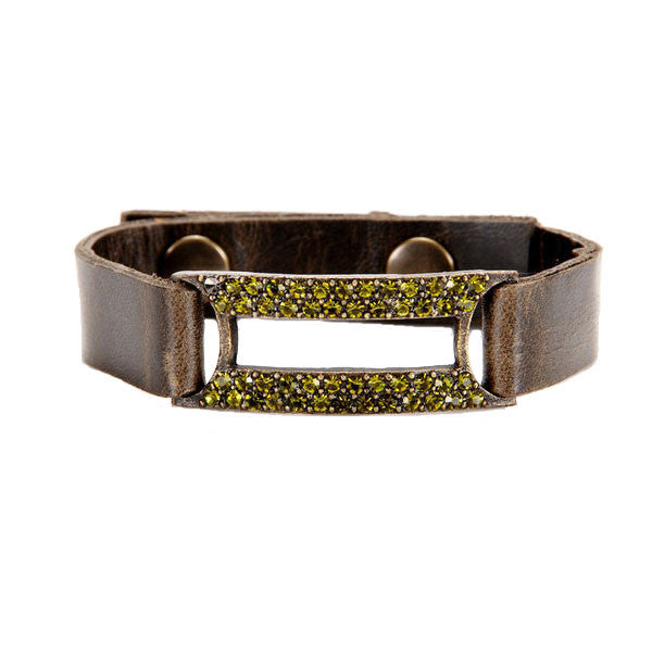 Rectangle Bar Bracelet with Olivine Swarovski Crystals and Army Green Leather