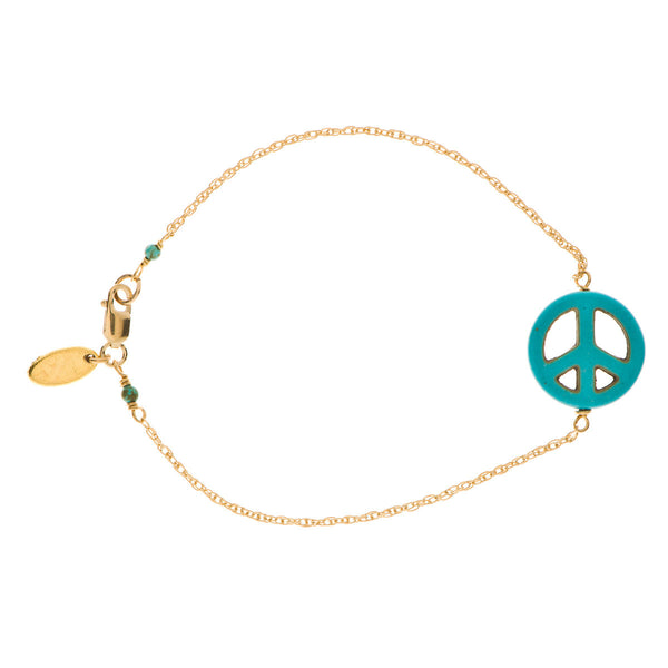Turquoise Peace Sign Bracelet on 14K Gold Chain