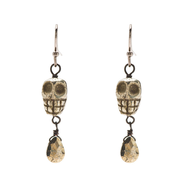 Skull Dangle Earrings in Pyrite and Gunmetal