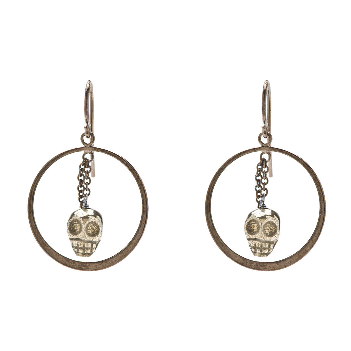 Gunmetal Skull with Pyrite Circle Earrings