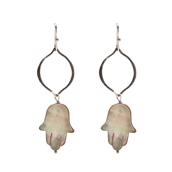Hamsa Mother of Pearl Earrings