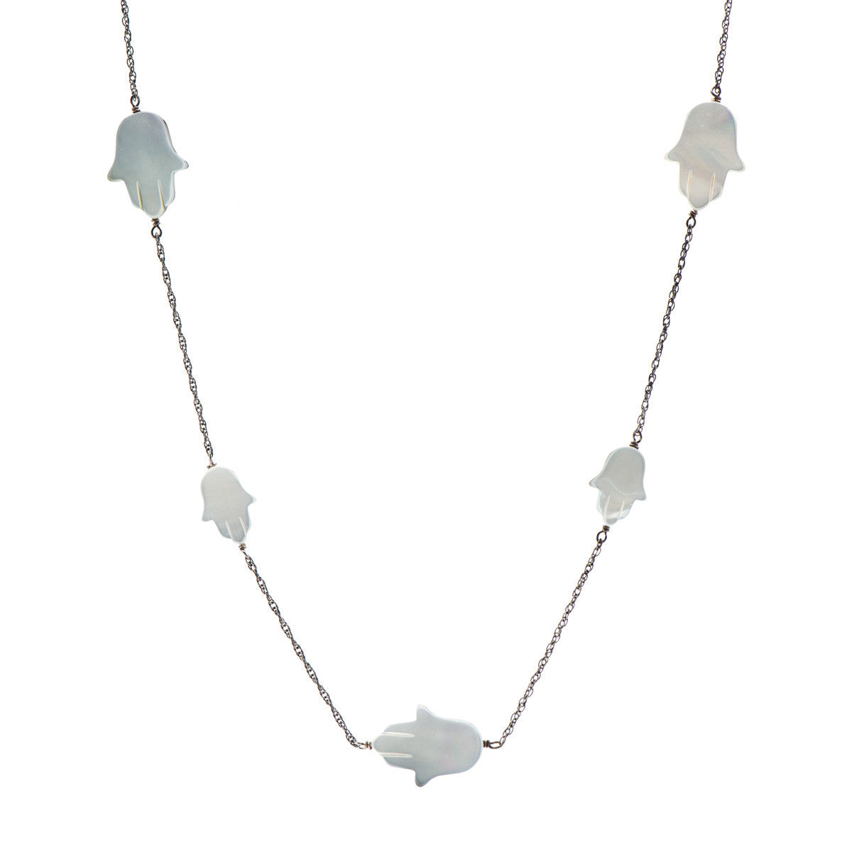 Long Hamsa Necklace in Mother of Pearl on Gunmetal Chain