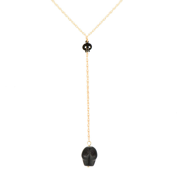 Black Skull Y-Necklace on 14k Gold Chain