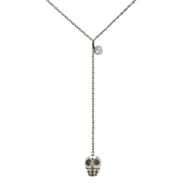 Pyrite Skull Y-Necklace on Gunmetal Chain
