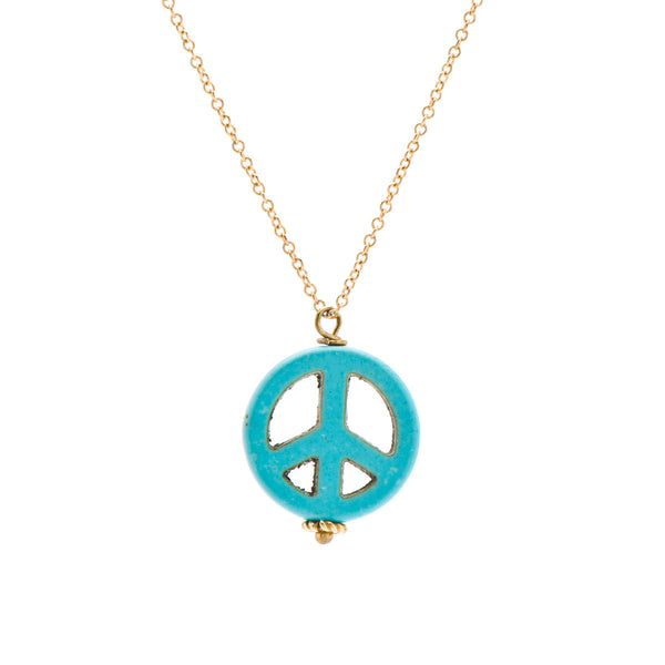 Turquoise Peace Necklace on 14K Gold Chain
