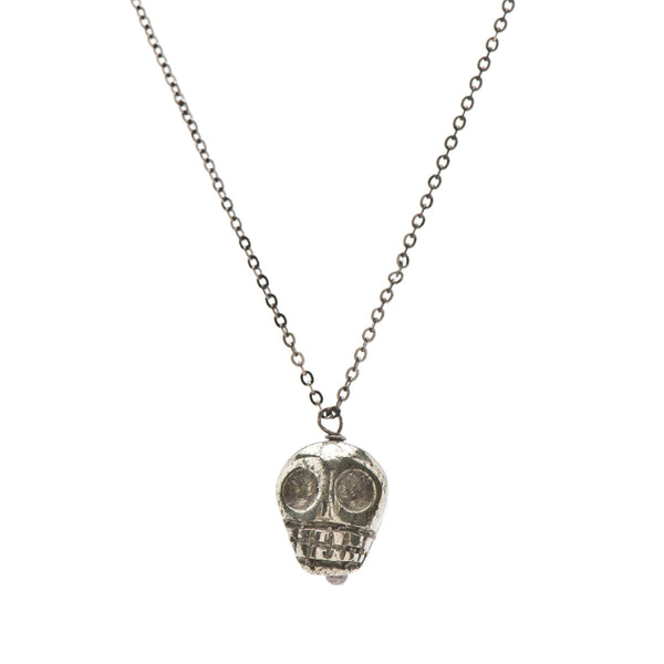 Gunmetal Skull Charm Necklace