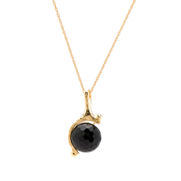 Smokey Quartz Globe Necklace on 14K Gold Chain