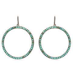 Rebel Designs Jewelry Large Open Circle Earrings with Turquoise