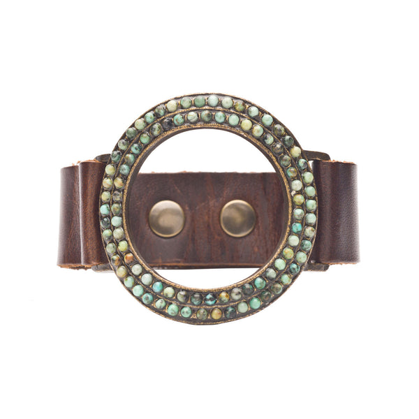 Turquoise Open Circle Leather Cuff Bracelet