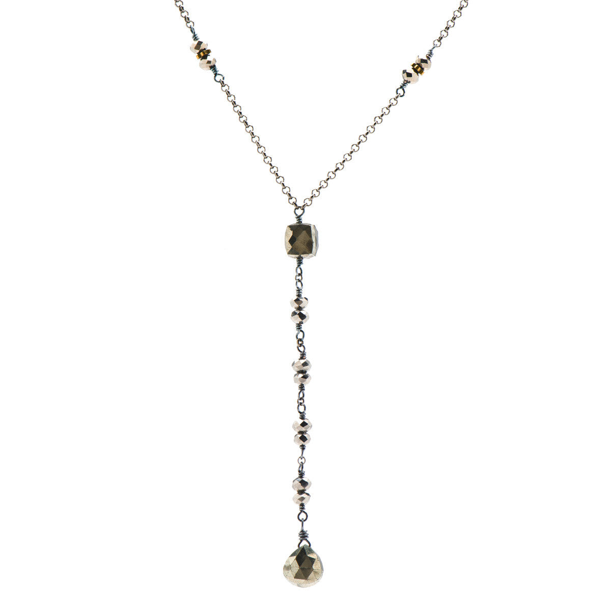Pyrite Drop & Cube Necklace on Gunmetal Chain with Gold Hematite