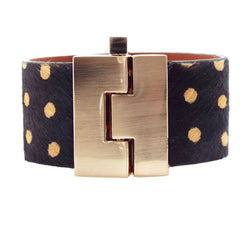 Pony Hair Leather Jigsaw Cuff  Bracelet - Polkadot