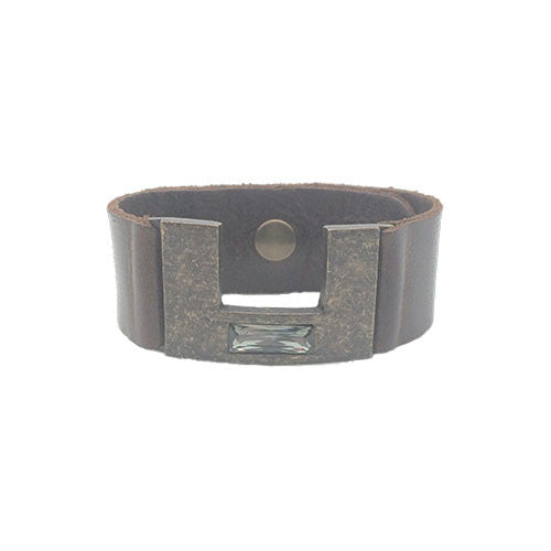 Geo Rectangle Bracelet with Black Diamond Swarovski Crystal and Vintage Brown Leather