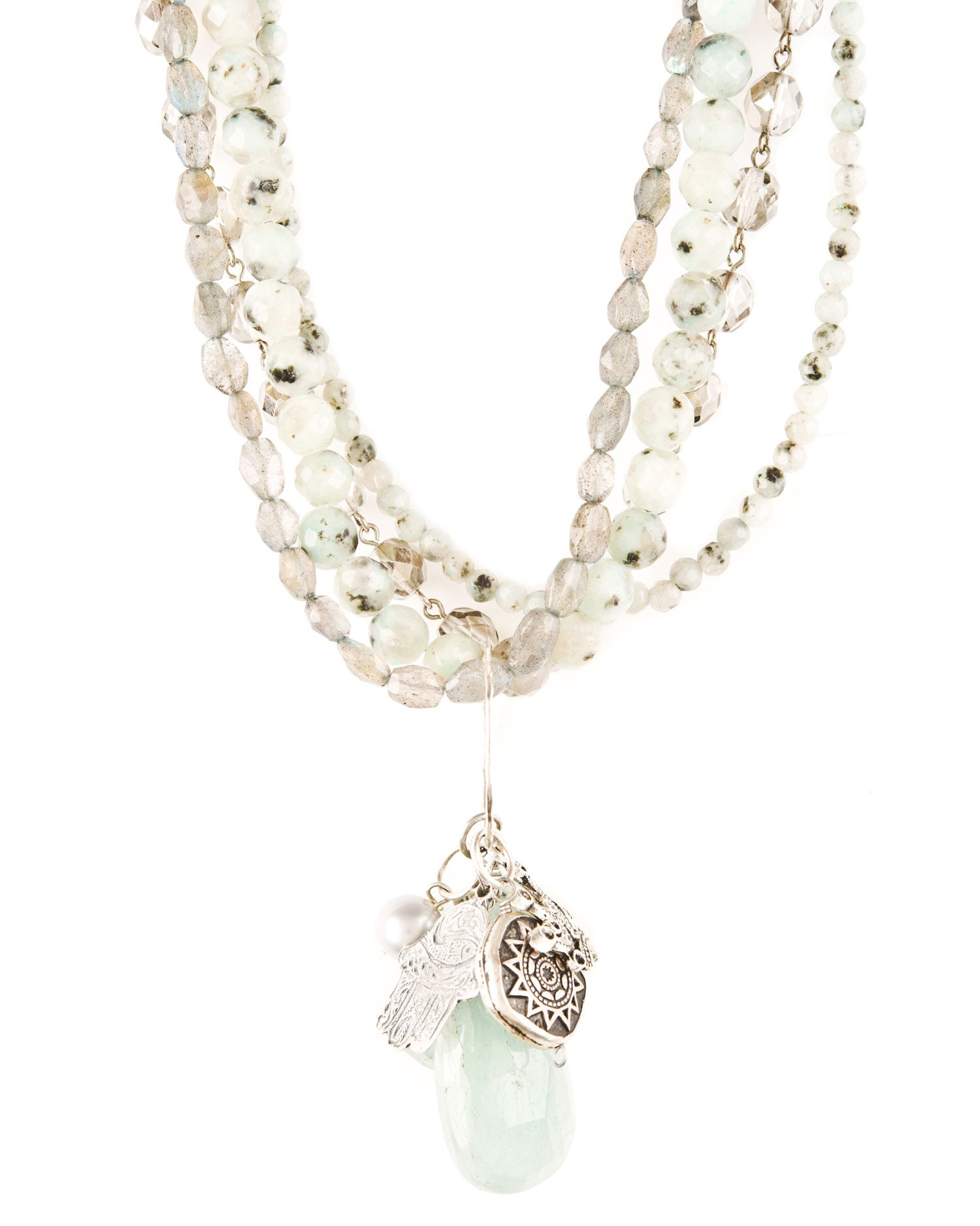 Sesame Jasper and Amazonite Beaded Sterling Silver Multi Charm Necklace