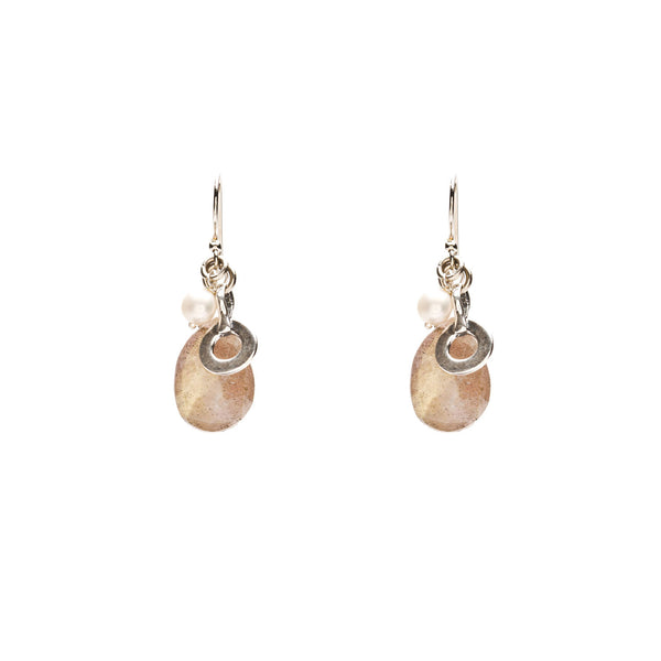 Labradorite and Pearl with Sterling Silver Open Charm Earrings