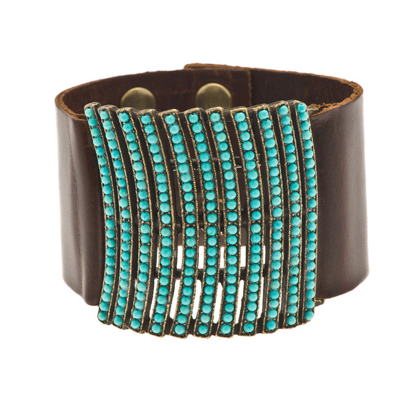 Turquoise Curved Lines on Brown Leather Cuff Bracelet