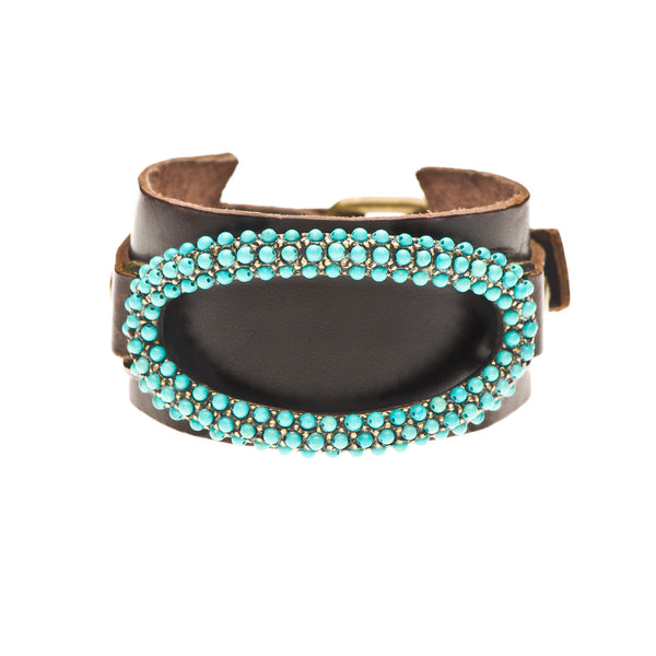 Turquoise Oblong Oval Wide Leather Cuff Bracelet