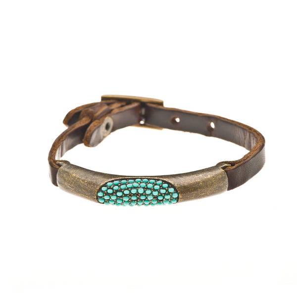 Turquoise Oval Cutout on Vintage Brown Leather Bracelet