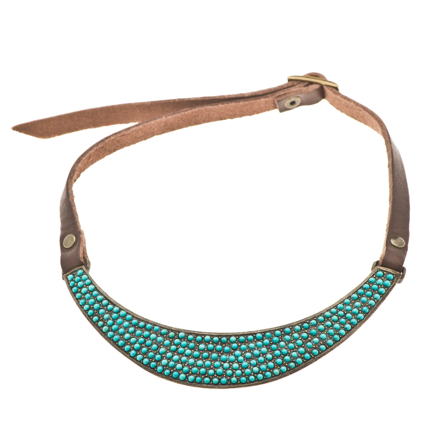 Turquoise and Italian Vintage Brown Leather Collar Necklace