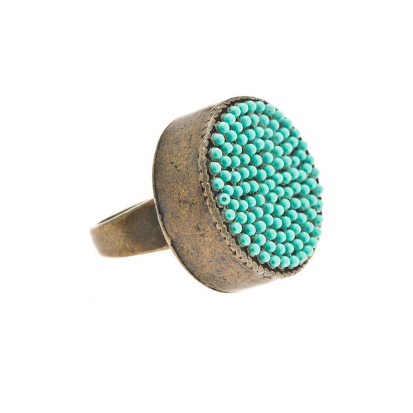 Turquoise Encrusted Round Chunky Disc Cocktail Ring
