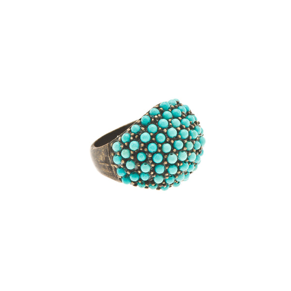 Turquoise Encrusted Dome Cocktail Ring