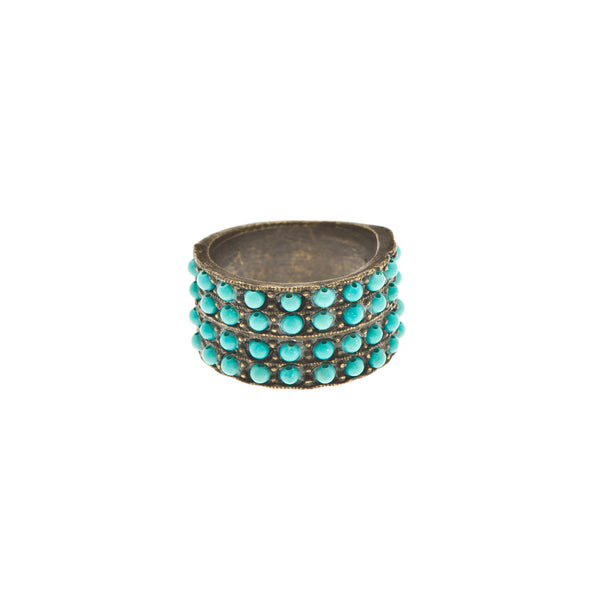 Turquoise Encrusted Wide Cocktail Ring