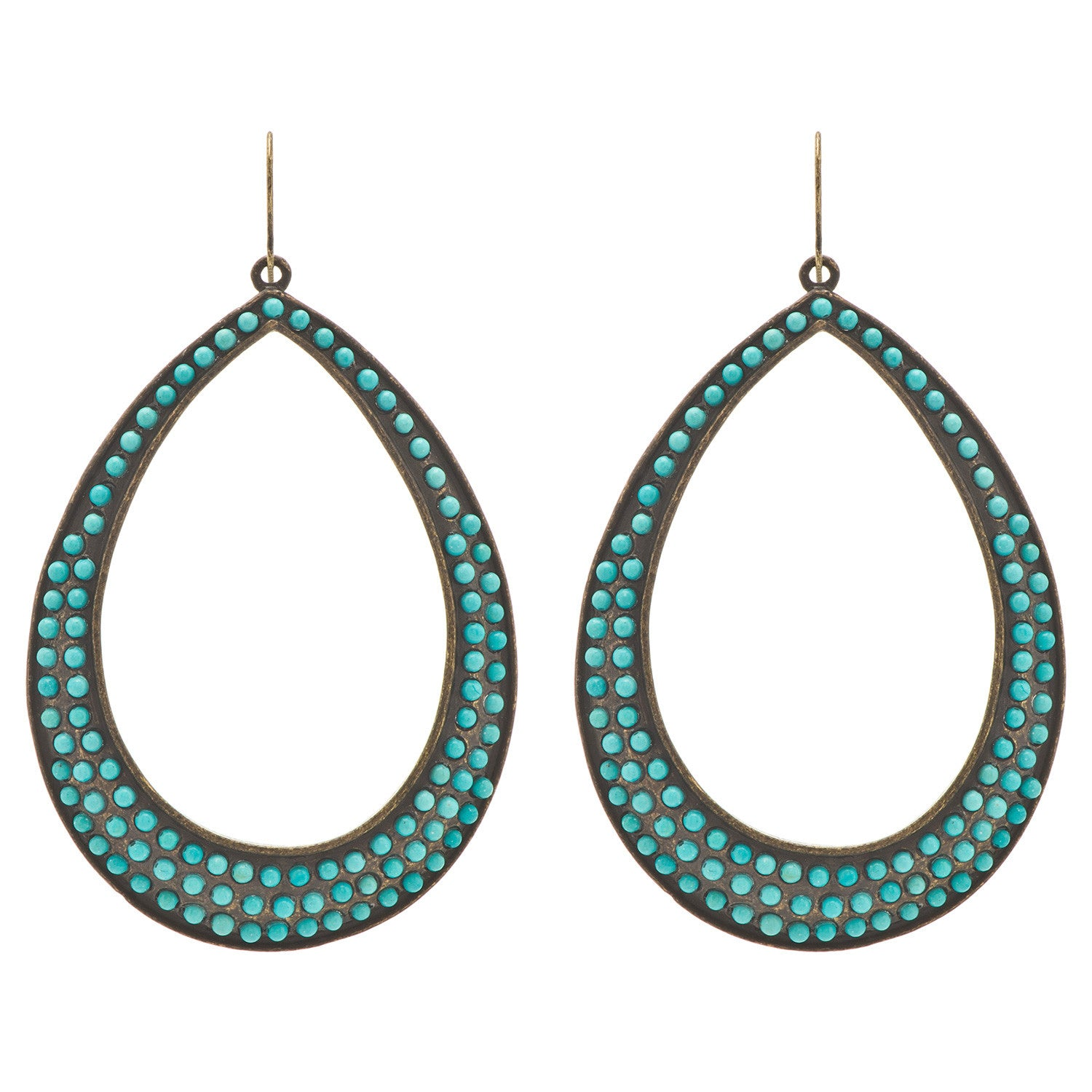 Turquoise Large Open Teardrop Earrings