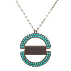 Split Circle Pendant Turquoise and Leather Necklace
