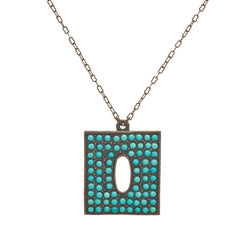 Small Rectangle Pendant Turquoise Necklace
