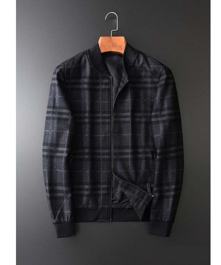 Stand Collar Mens Jackets Luxury Thick Yarn Dyed Plaid Fabric Mens Jackets And Coat