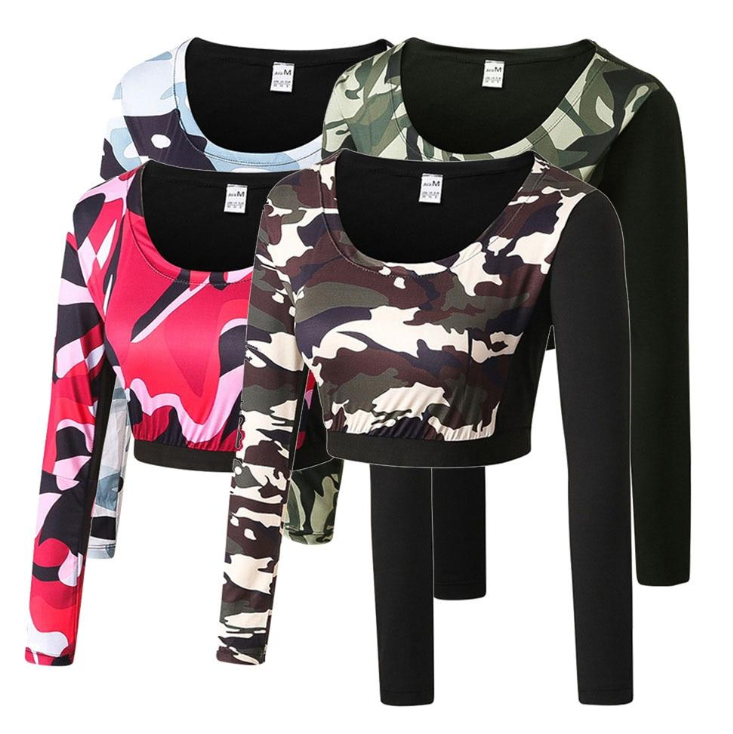 Girl Crop Top Fitness Tight Blouse Costume Camouflage Gym Sportswear Long Sleeve Tracksuit Yoga T-shirt Dew Navel Attire Tanks