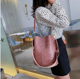 Vintage Casual Bucket Bags for Women Shoulder Bag Alligator pattern Quality Pu Leather Messenger Bag Big Tote Popular Style 2020