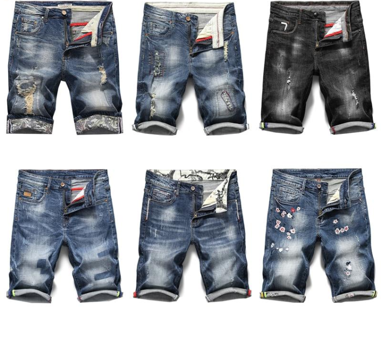 Men Jeans Shorts Ripped Stretch Slim Fit Trendy Denim Short Streetwear Hiphop