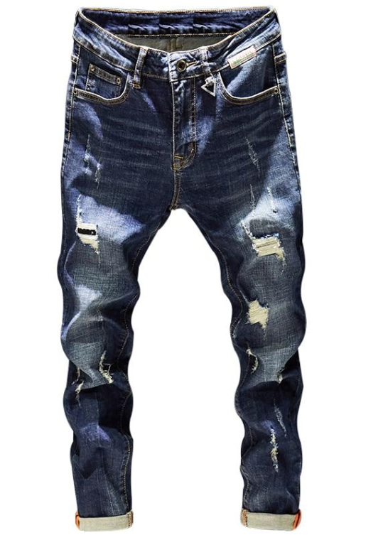 Mens Ripped Jeans Slim Fit Dark Blue Spring Autumn Destroyed Torn Stylish Moto Biker Jeans Denim Pants Men Hip hop Streetwear
