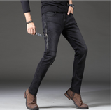 2020 New Arrival High Street Geometric Fake Zippers Jeans  Slim Mid Coated Straight Midweight Full Length