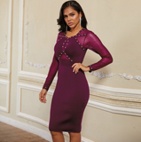 2020 New Arrival Mesh Rhinestone Bandage Dress Long Sleeve Black Women Bandage Bodycon Party Dresses