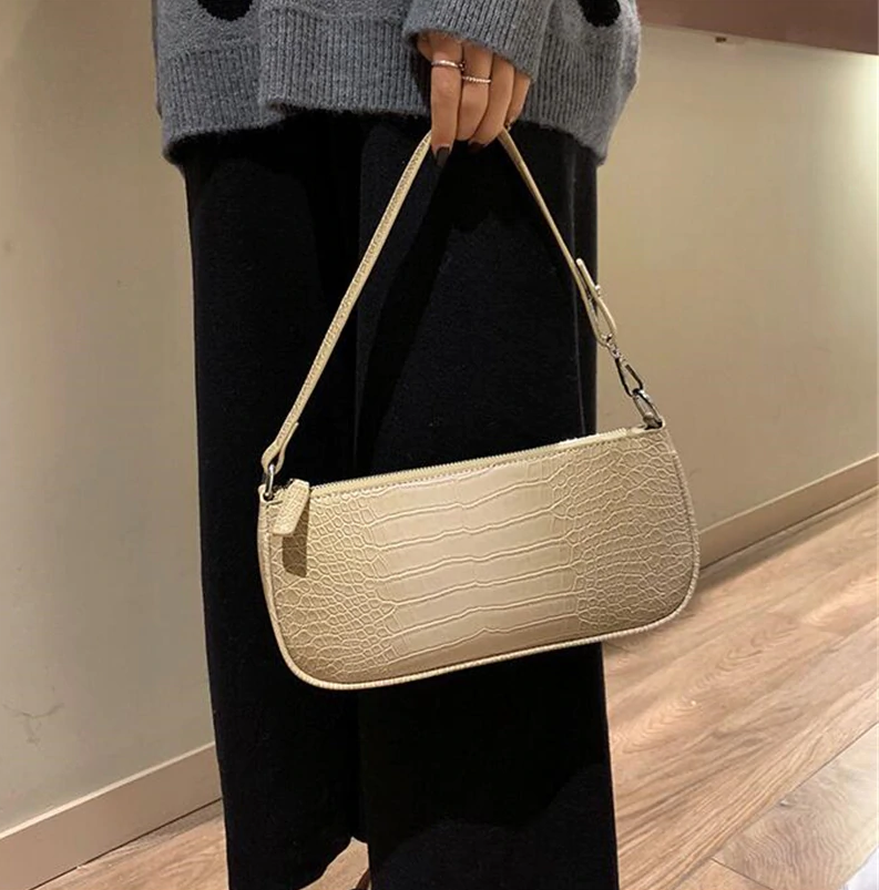 Retro Alligator Skin Pattern women Small Handbags Short Strap Shoulder Bags Phone Purse Baguette Bag High Quality PU Leather