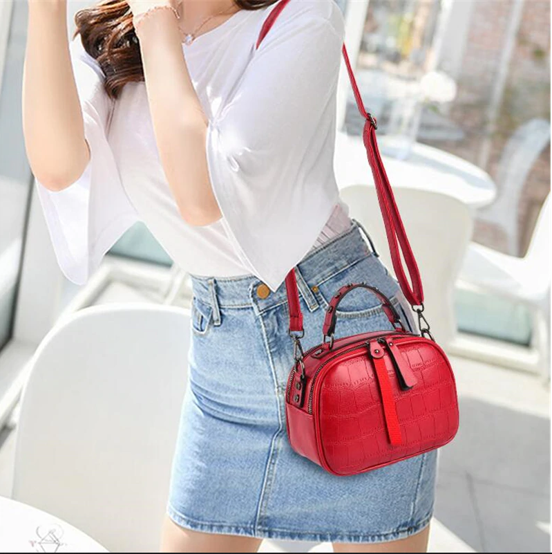 Mini PU Leather Crossbody Bags For Women 2020 Hair ball Shoulder Messenger Bag Ladies Small Rivet Handbags Travel Hand Bag
