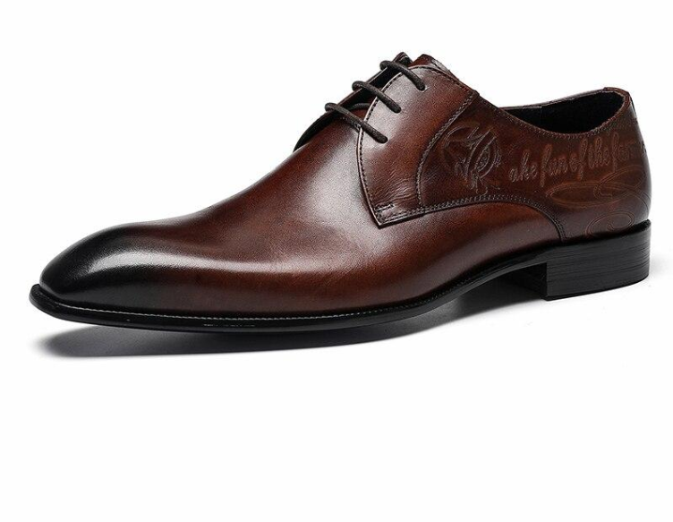 Men Italian Oxford Wingtip Genuine Leather Shoes Pointed Toe Lace-Up Oxford Dress Brogues Wedding Platform Shoes