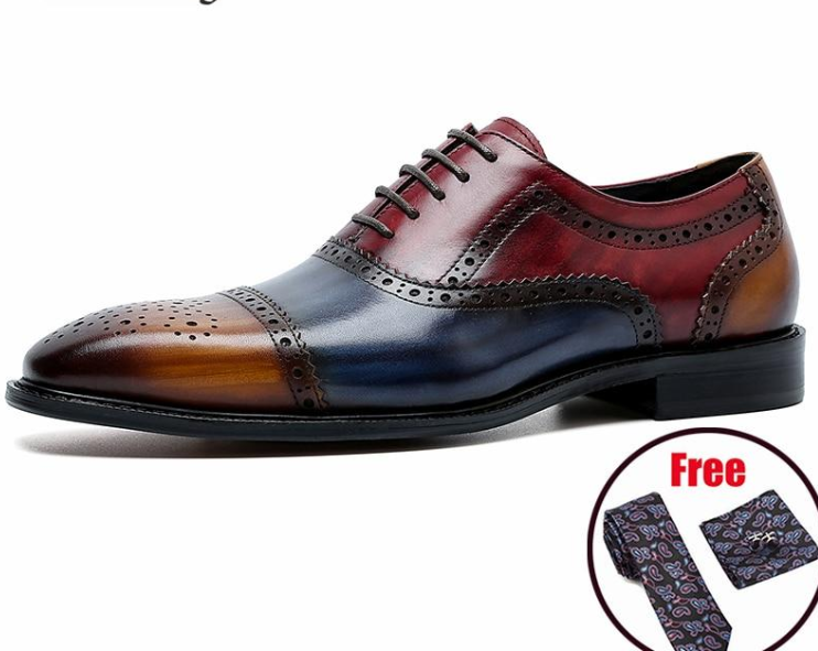 Men Genuine Wingtip Leather Oxford Shoes Pointed Toe Laces Up Oxfords Dress Brogues Wedding Business Platform Shoes