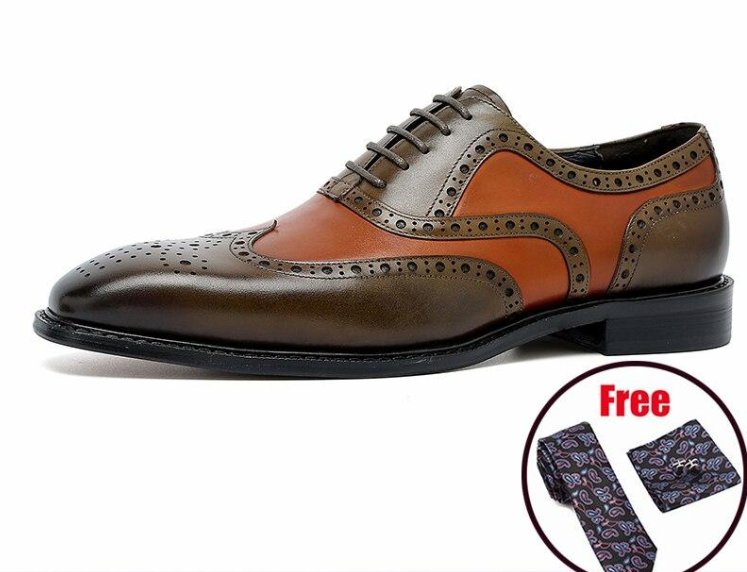 Men Genuine Wingtip Leather Oxford Shoes Pointed Toe Lace-Up Oxfords Dress Brogues Wedding Business Platform Shoes