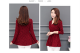 Casual Slim fit 2020 New Plushed and Thickened Bottom Women top Long Sleeve Blusa V-neck Purple Red Flowers Blouses Shirt 201J3