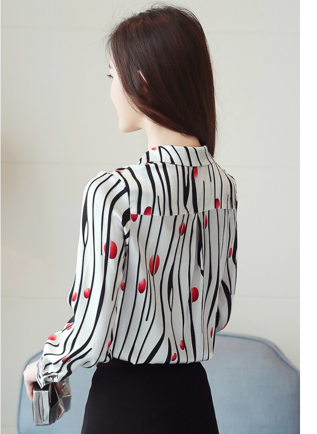 Ladies Shirts Women Blouse Shirt Top Striped Korean Fashion Clothing Turn Down Collar Long Sleeve Chiffon Flower Print Tops 621G