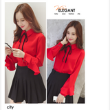 New 2020 Female Elegant Black Bow Tie Collar Office White Blouses Chiffon Casual Shirt Ladies Tops School Blouse Fashion 184i3