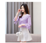 Summer Sexy 2020 New Ruffled Flower Chiffon Blouses shirt Half sleeve Bow V-collar Chiffon Lace Women's Tops Fashion Shirt 604H5
