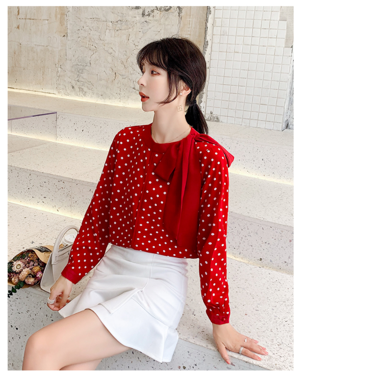 Shirt Women's Blouse Blusas Mujer De Moda 2020 New Korean-Style Bow Neck Chiffon Printed Dot Long-Sleeved Women Shirts 210J