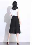 Casual Chiffon Black Pants Women 2020 New Summer Chiffon Wide Leg Pants High-Waisted Loose Elegant Pants Womens clothing 198H